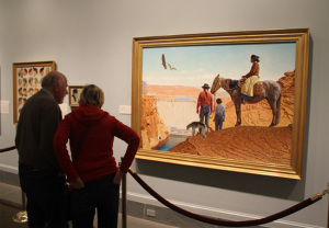 "Photo of visitors viewing Norman Rockwell's ""Glen Canyon Dam."""
