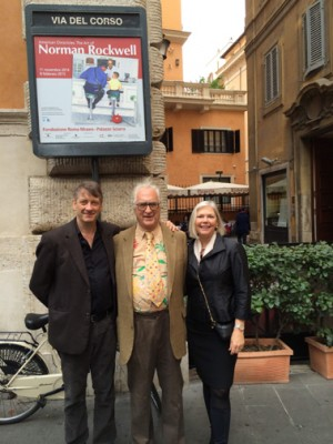 Norman Rockwell Museum Director/CEO Laurie Norton Moffatt with Norman Rockwell's son/sculptor Peter Rockwell, and grandson Tom Rockwell in Rome, Italy, November 2014.