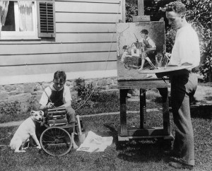 Norman Rockwell with model Franklin Lischke and dog. Photographer unknown. Norman Rockwell Museum Collections. All rights reserved.