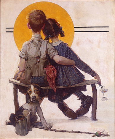 "Norman Rockwell (1894-1978), "" Boy and Girl Gazing at Moon (Puppy Love),"" 1926"