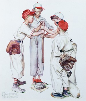 """Four Sporting Boys: Baseball,"" Norman Rockwell (1894-1978)"