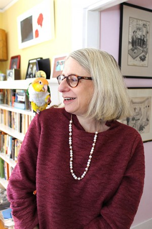 Roz Chast and pet parrot, 2015