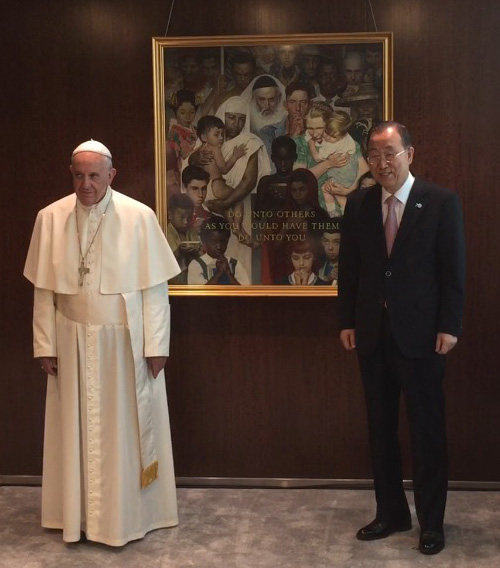 Pope Francis Views Rockwell S Golden Rule Norman