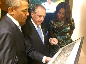 The Obamas and UN Deputy Secretary-General Jan Eliasson looking at Rockwell's United Nations