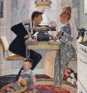 "Norman Rockwell (1894-1978), ""Breakfast Table Political Argument,"" 1948. Norman Rockwell Museum Digital Collections. ©SEPS: Curtis Licensing, Indianapolis, IN"