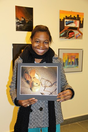 Photo of student artist for Berkshire County High School Art Show at Norman Rockwell Museum.
