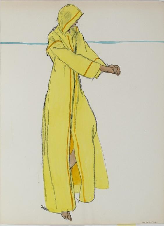Fashion illustration (Woman in Yellow Robe) - Jean Ratley Cunninham