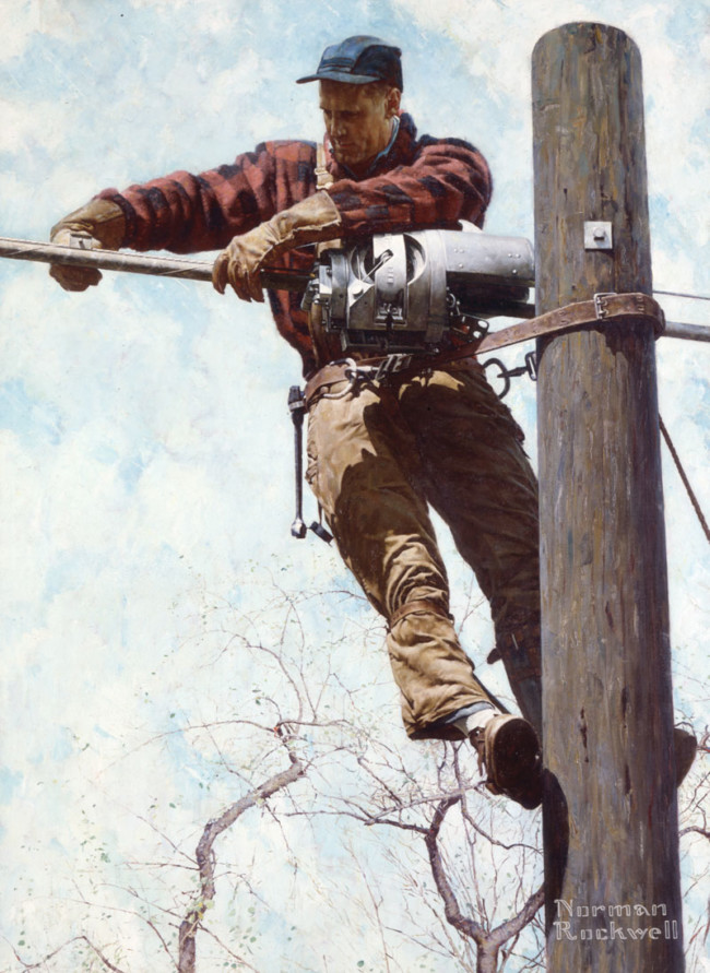 The Lineman - Art of Norman Rockwell