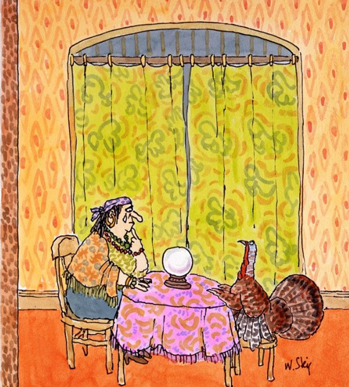 William Steig - Untitled Drawing (Fortune Teller at Thanksgiving)