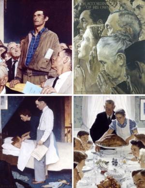 Freedom of Speech, Freedom of Worship, Freedom from Fear, Freedom from Want,1943. Norman Rockwell
