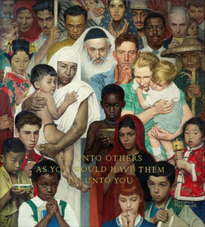 """Norman Rockwell (1894-1978), Golden Rule, 1961. Oil on canvas, 44 1/2"""" x 39 1/2"""". Story illustration for The Saturday Evening Post, April 1, 1961. Norman Rockwell Museum Collections. ©SEPS: Curtis Licensing, Indianapolis, IN."""