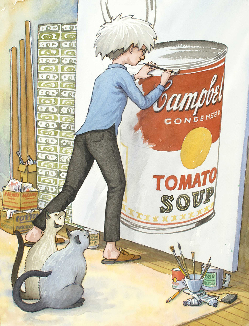 Uncle Andy paints another soup can - James Warhola