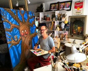 James Warhola at home in his studio