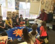 Illustrator Jerry Pinkney teaching students in Muddy Brook Regional Elementary School as part of Norman Rockwell Museum's Berkshire County Student Passport Program.