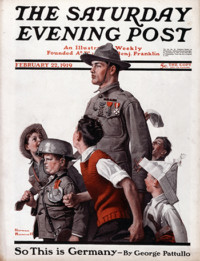 """Norman Rockwell (1894-1978), """"WWI Soldier Marching with Children."""" 1919"""