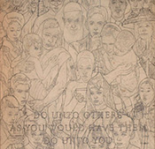 "Pencil sketch of Rockwell's ""Golden Rule"""