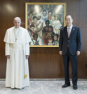 Pope Francis and UN Secretary-General Ban Ki-Moon in front of Rockwell's Golden Rule