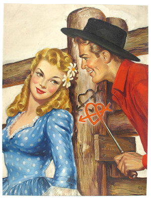 """Gloria Stoll Karn, [Couple with heart branding iron], 1940s. Oil on canvas, 24"""" x 20 1/4"""". ©Gloria Stoll Karn. All rights reserved."""