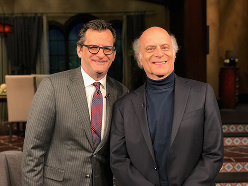 Ben Mankiewicz, host of Turner Classic Movies, with Four Freedoms scholar Harvey Kaye.