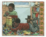 Brian Pinkney, For ujamaa we save up our coins for one whole year to buy a family gift that everyone can share..., c. 1993. Ink and oil pastels on scratchboard. Illustration for Seven Candles for Kwanzaa by Andrea Davis Pinkney, 1993. ©Brian Pinkney. All rights reserved