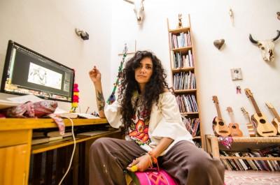 Yuyi Morales in her studio